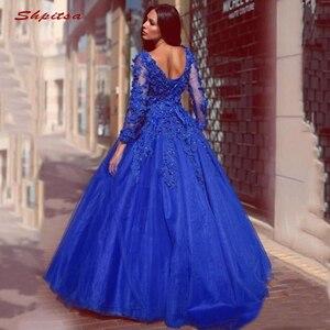 Image 3 - Royal Blue Lace Quinceanera Jurken Baljurk Lange Mouwen Tulle Prom Debutante Zestien 15 Sweet 16 Jurk