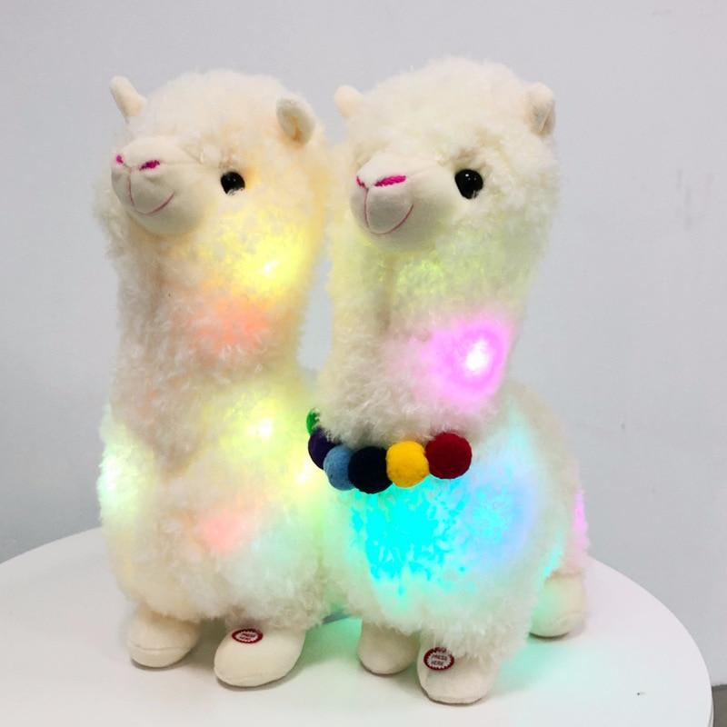 New Glowing Alpaca Llama Stuffed Animals Plush Toy Led Rainbow Alpaca Luminous Alpacasso Sheep Dolls Toy For Kids Birthday Gifts