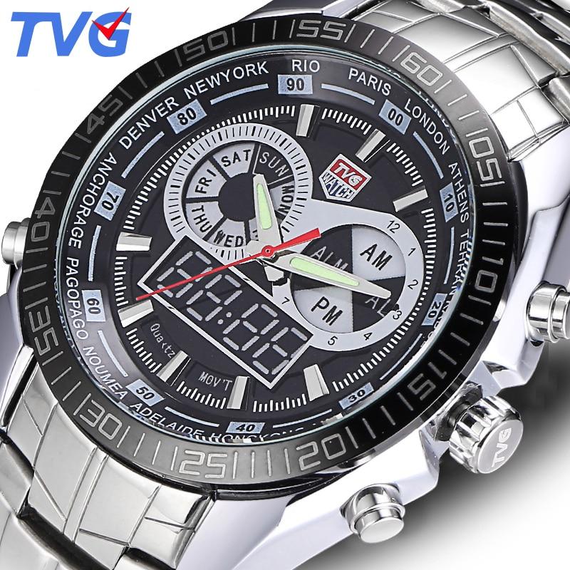 e2e058b58d4 TVG Homens De Luxo Da Marca Relógios Digitais LEVOU À Prova D  Água Esporte  Relógio Analógico Militar Relógio de Quartzo Homens relógio de Pulso Relogio  ...