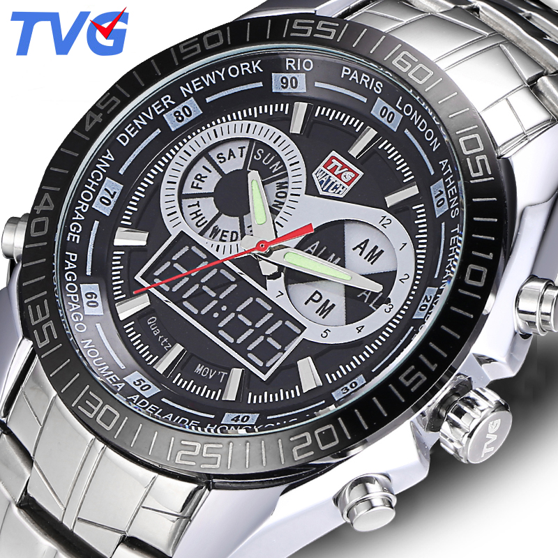 TVG Luxury Brand Men Watches Digital LED Waterproof Sport Military Analog Watch Quartz Watch Men Wristwatch Relogio Masculino цена