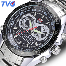 TVG Brand  Men Sports Watches Waterproof Full stainless steel Quartz wristwatches Digital Multifunction Men's Military LED Watch