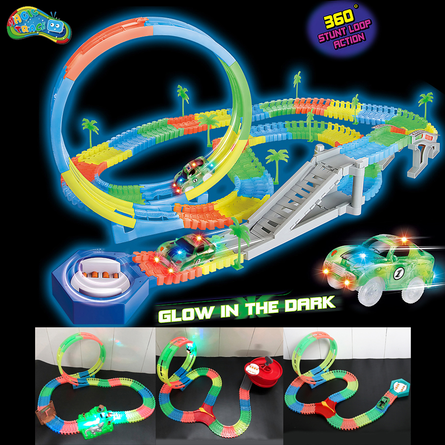 Magic Track Outsize 7.2CM Glow In The Dark 360 Stunt Loop Racetrack That Can Climb,DIY Assembly Track With LED Race Car