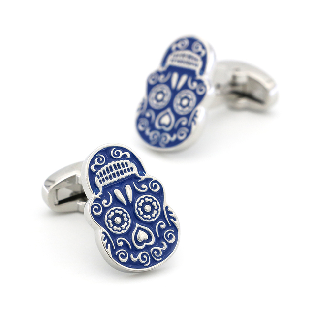iGame New Arrival Skull Cuff Links Blue Painting Skeleton Dead Head Design Quality Brass Material Brand Cufflinks Free Shipping 2