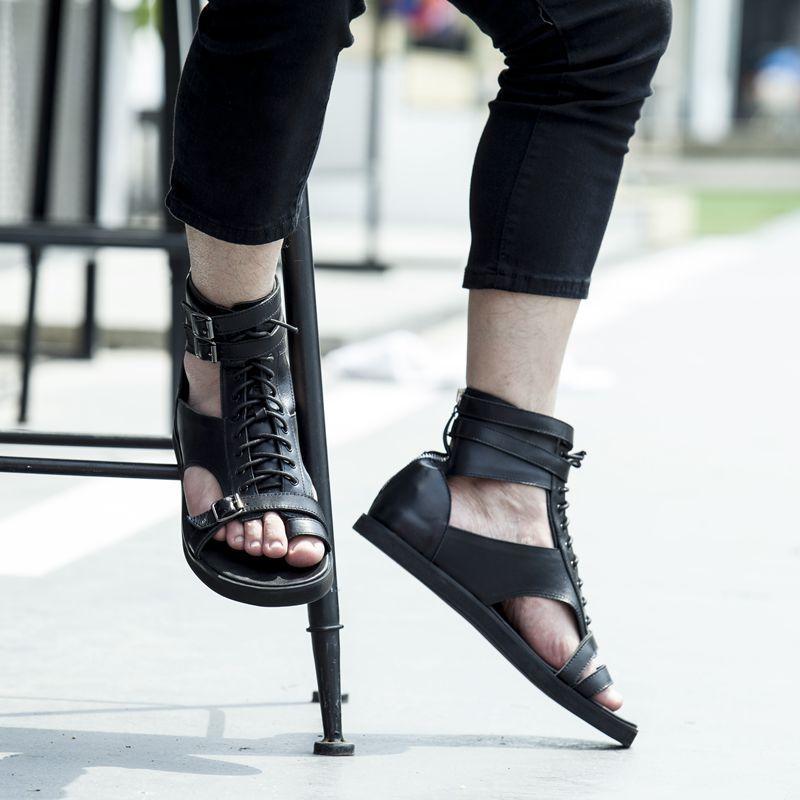 Branco preto flip flops tornozelo gladiadores apartamentos fivela de couro genuíno rendas até roma estilo punk verão sandálias ao ar livre sapatos casuais