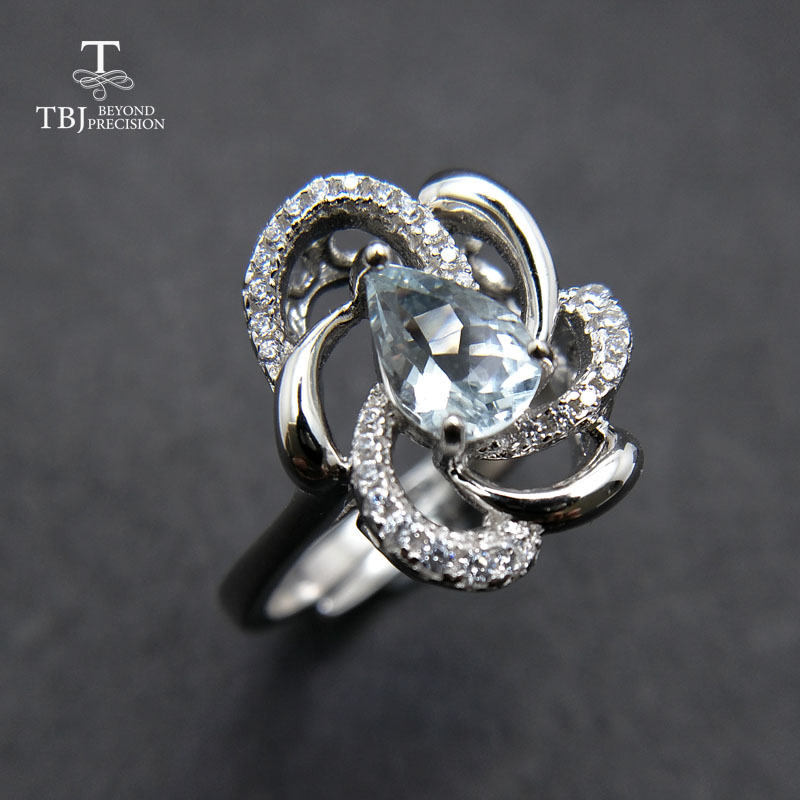 TBJ,elegant and trendy ring with 100% natural aquamarine ring 925 sterling silver for women girl lady as birthday gift with box
