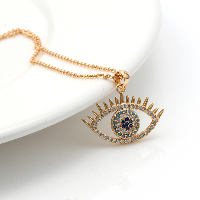 MEIBEADS Turkish Evil Eye CZ Necklaces For Woman Micro Pave Zircon Charm Adjustable Chains Fashion Handmade Jewelry Gift