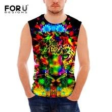 FORUDESIGNS Men Tank Tops Summer Male Casual Clothing Cotton Spandex Slim Super Cool Design O Neck Sleeveless Vest Men Tops 2017 все цены