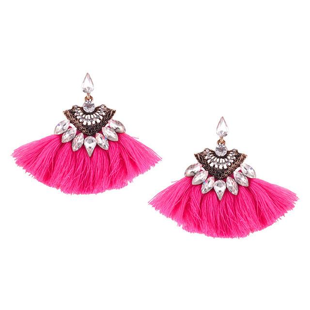 Vintage New Crystal Tassel Earrings