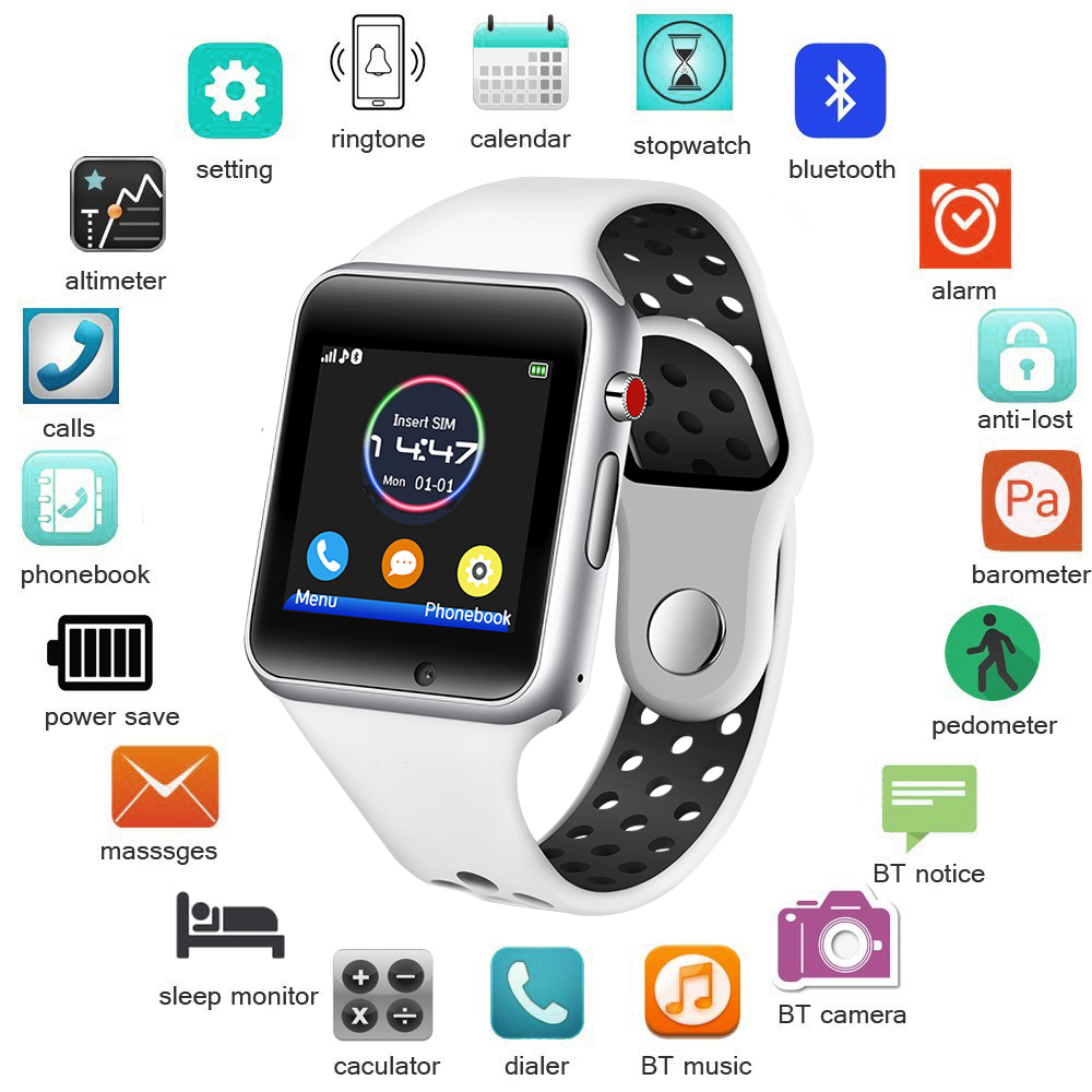 Men Smart Watch Women Sport Pedometer LED Digital Wristwatch SIM Camera Music Player Smartwatch For Android+Box