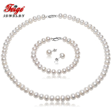 Feige Freshwater Pearl Jewelry Sets,7-8mm White Natural Pearl Jewelry,925 Sterling Silver Earrings Jewelry Sets For Women's недорого