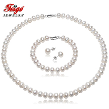 Feige Freshwater Pearl Jewelry Sets,7-8mm White Natural Jewelry,925 Sterling Silver Earrings Sets For Women's