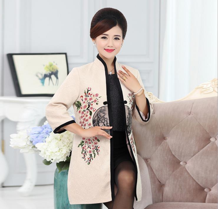 Printemps Veste Coupe Style bleu De Nouvelle Points Grande vent rouge Femmes Sept Tang Et Broderie Costume Automne Chinois Manches Manteau Taille Beige v0mnN8wO
