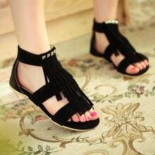 2016 Rome Style T Straps Tassels Rivets Sandals Sapatos Femininos Sandalias Femininas Flat Sandal Women's Summer Casual Shoes