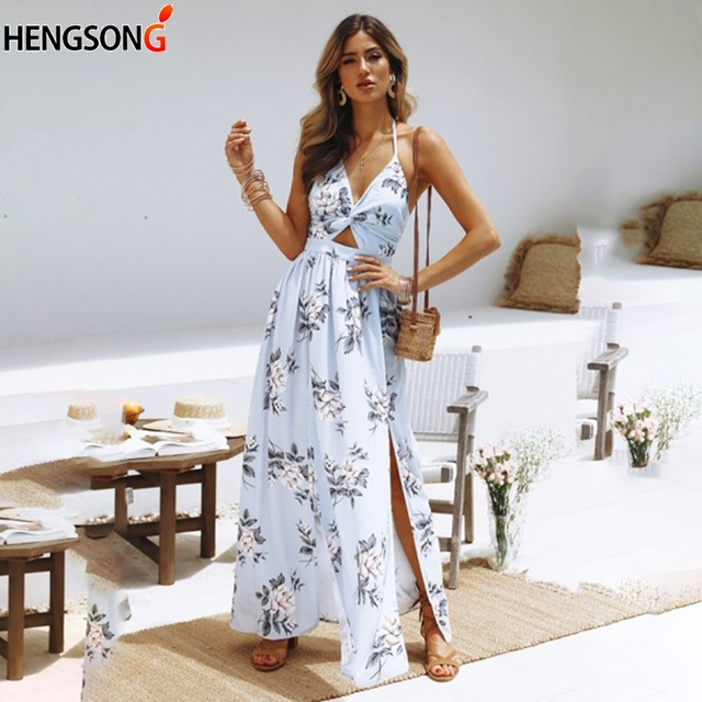 20fbef8fb011 2018 New Women Floral Print Dress Summer Holiday Beach Dress Sleeveless  Long Boho Maxi Dress Female Lady High Split Party Dress