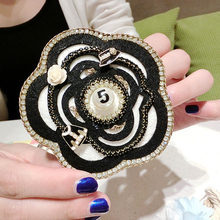 Luxury Enamel Camellia Flowers CC Style Jewelry Rhinestone Brooches For Women Sweater brooch pins accessaries for Clothes