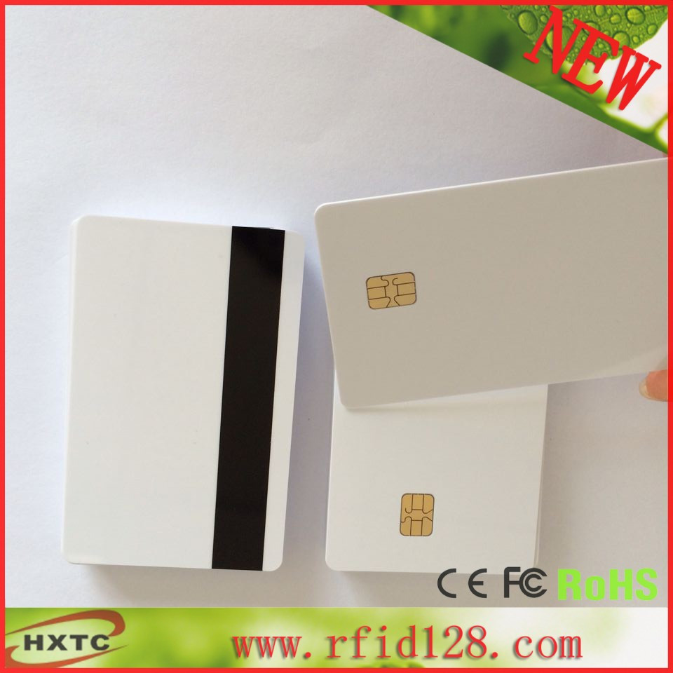 50PCS/Lot  Printable PVC Contact Smart IC Card With FM4442/Sle4442 Chip & Hi-Co Magnetic Stripe For Espon /Canon inkjet Printer 20pcs lot double direct printable pvc smart rfid ic blank white card with s50 chip for epson canon inkjet printer