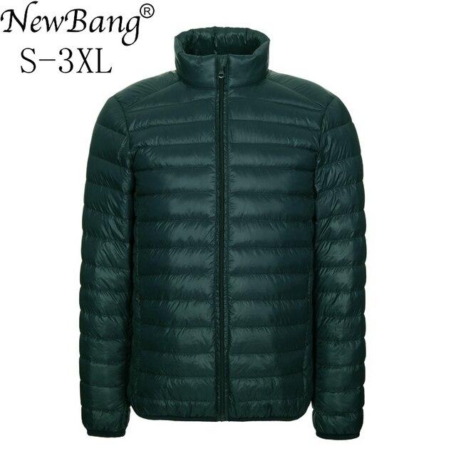 NewBang Brang ผู้ชายลงเสื้อแจ็คเก็ต Ultralight ลงเสื้อผู้ชายคอปกฤดูหนาว Windbreaker น้ำหนักเบาอบอุ่นบาง Parka