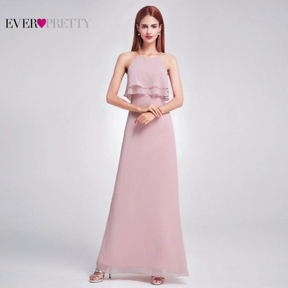Women Elegant   Bridesmaid     Dress   Ever Pretty EP07137 Sleeveless Flowy Multi Layer Long Chiffon Wedding Formal Party Gowns 2018