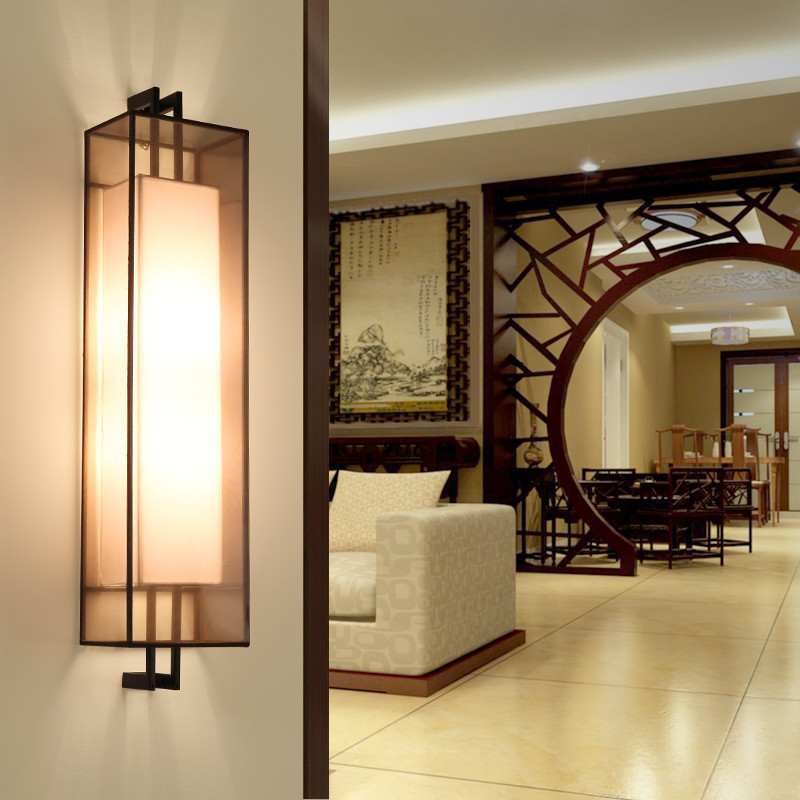 LED Wall Light Simple Rectangle Cloth Sconces Wall Lamp ... on Wall Lighting For Living Room id=34313