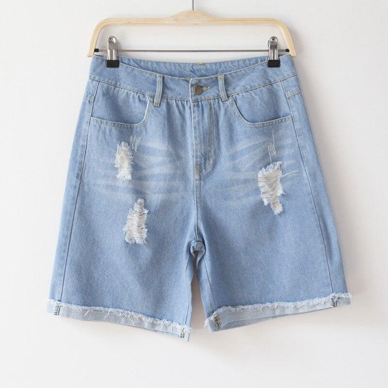 Jean Shorts Women Summer Fringe Hole Cuff Shorts Jeans Roll Up Blue Ripped Denim Dhorts Femme