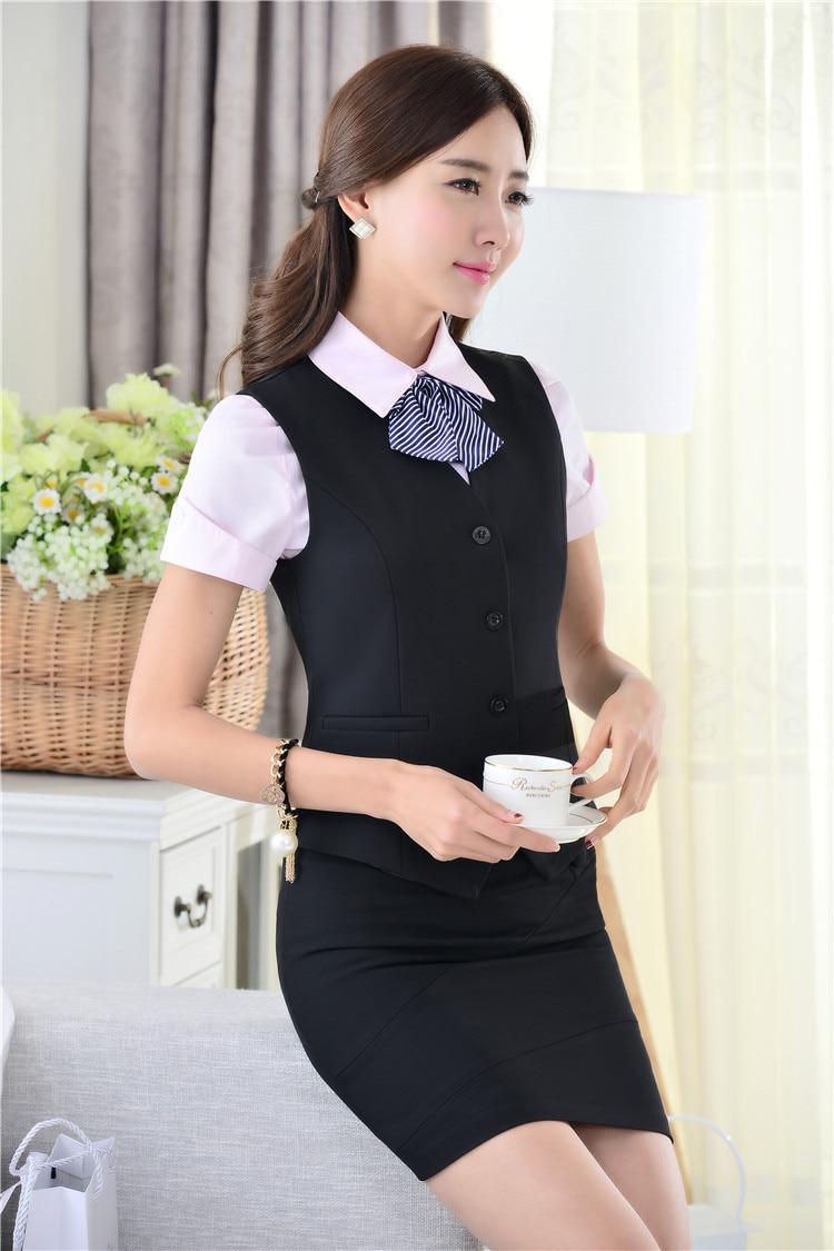 Весна Лето Новинка тонкие модные деловые женские костюмы жилет+ юбка форма дизайн Дамская Офисная Рабочая одежда юбки костюмы - Цвет: Dark Blue