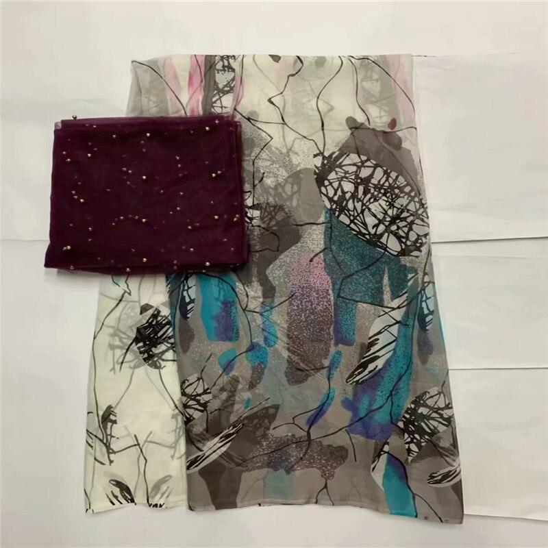 African morbido tessuto di seta per abbigliamento neat ricamo sul gold & viola materiale raso con merletto svizzero del voile tissu LXE071705-in Tessuto da Casa e giardino su  Gruppo 1