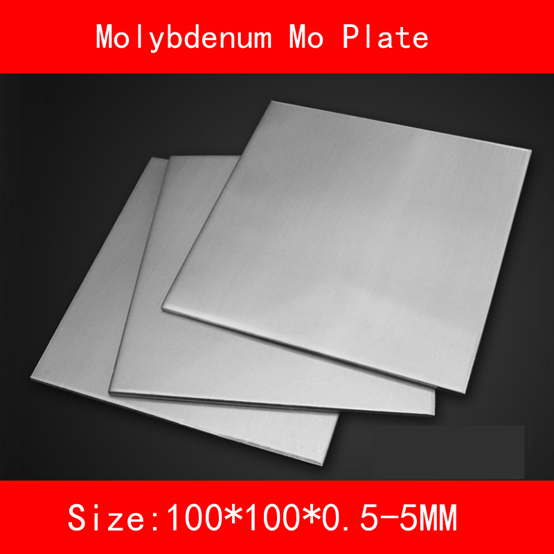 Molybdenum plate size 100*100mm thickness 0.5-5mm metal Mo Sheet size length width thickness 100mm 100mm 3mm wear resistant high temperature resistance peek plate sheet