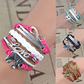 Fashion 1 Pc Unisex Charming Retro DIY Multilayer Bangle Elephant Love Weave Bracelet Jewelry Gift 4 Colors