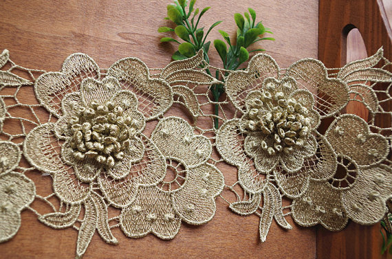 adeb42a351b829 10 yards top quality gold 3D flower lace trimming applique, metallic golden  lace 3d floral trim, LT142VE
