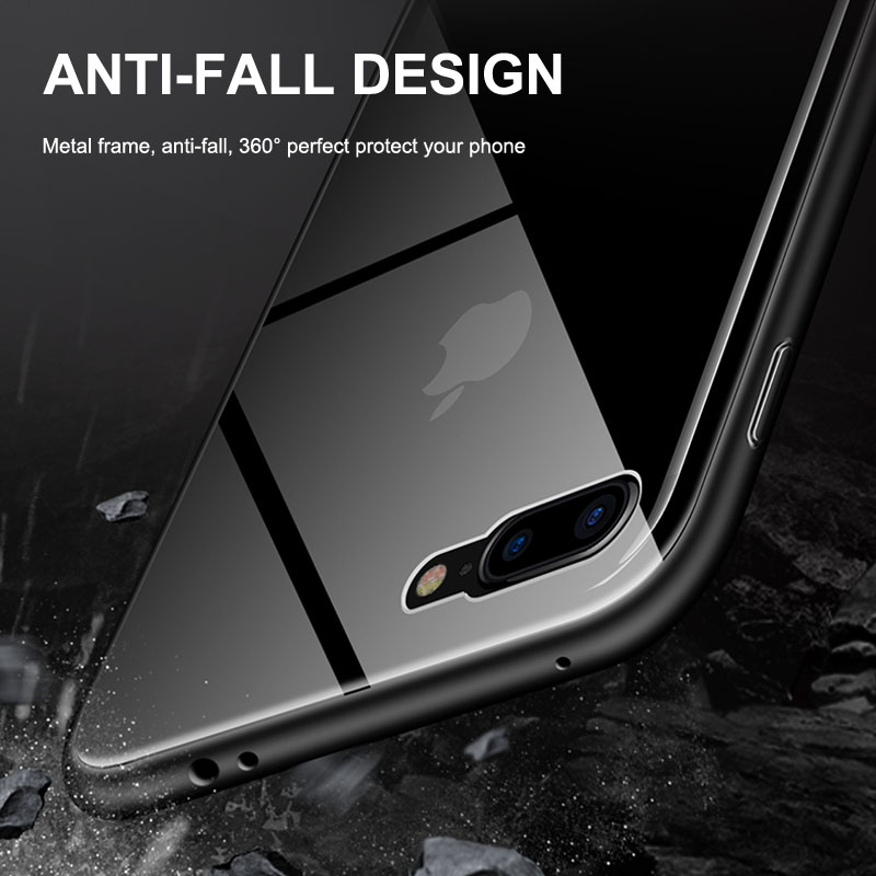 Business Case For iPhone XS Max XR X 6 6s 7 8 Plus Magnetic Case Aluminum Alloy Frame And Tempered Glass Anti knock Phone Cover in Fitted Cases from Cellphones Telecommunications