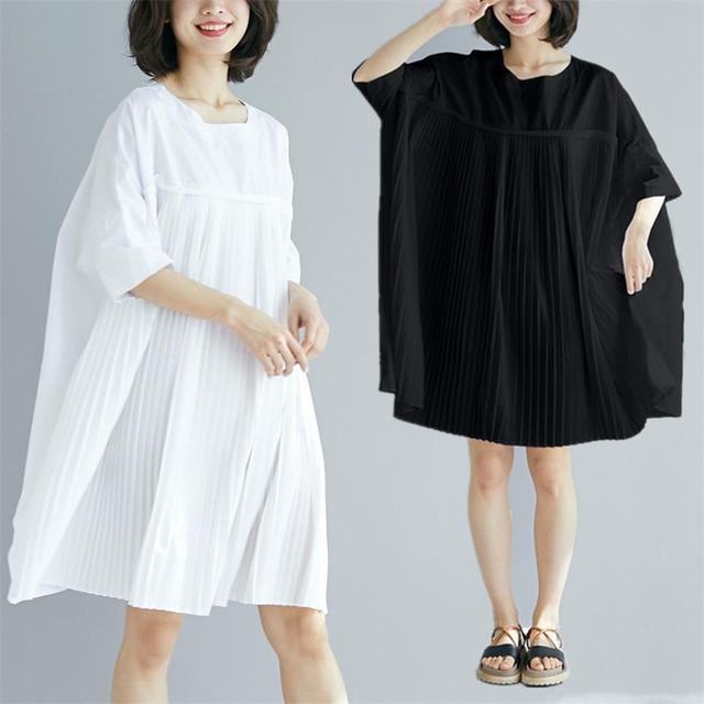 Z-ZOUX Women Dress O Neck Short Sleeve Pleated Dress Loose Simple Summer Dresses White Black Plus Size Womens Casual Wear 2019