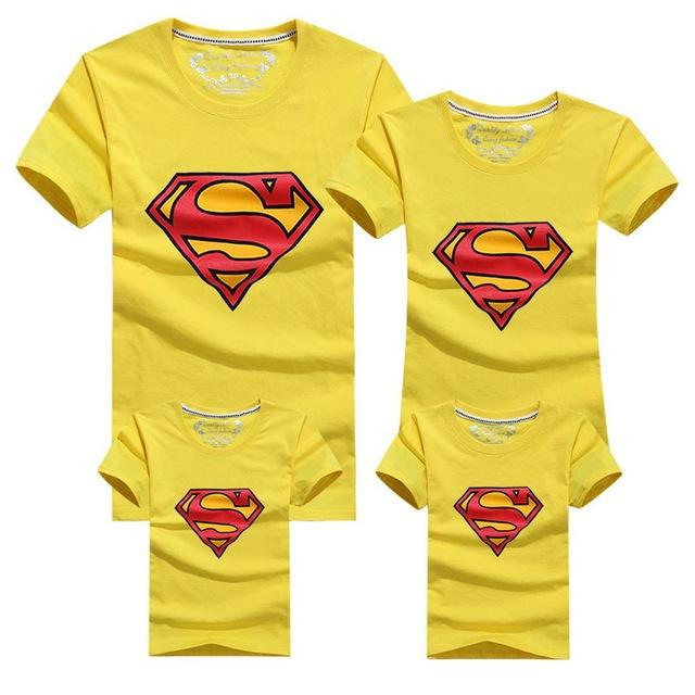 Family Matching Superman Printed T-Shirts