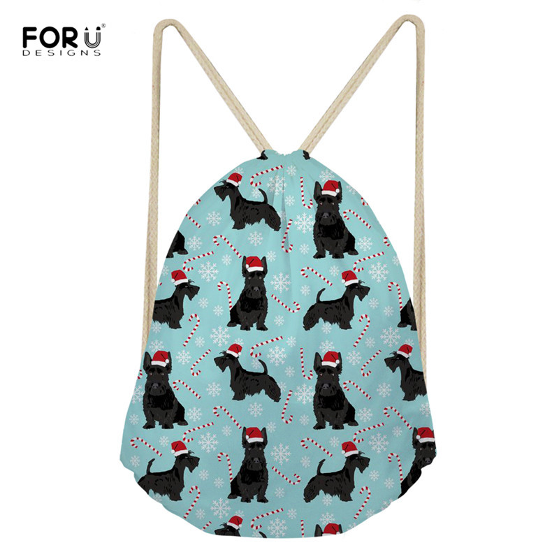 FORUDESIGNS Christmas Women Drawstring Bags Scottish Terrier Pattern Cute Portable String Backpacks For Ladies Girls Durable Bag