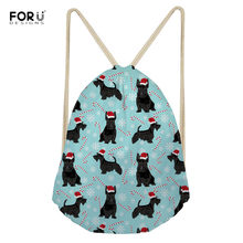 FORUDESIGNS Christmas Women Drawstring Bags Scottish Terrier Pattern Cute Portable String Backpacks for Ladies Girls Durable Bag(China)