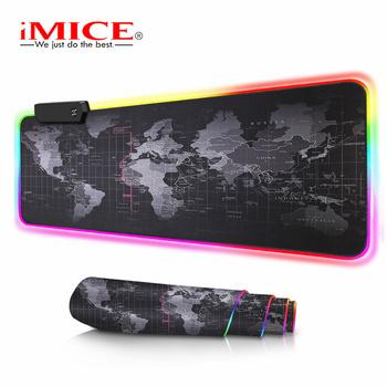 Duża podkładka pod mysz podkładka pod mysz komputerowa RGB podkładka pod mysz do gier XXL podkładka pod mysz podkładka pod mysz dla graczy Gamer duża mysz mata RGB podkładka pod mysz komputer mata podkład na biurko tanie i dobre opinie iMice RUBBER Large Mouse Pad Ochrona przed promieniowaniem Zdjęcie With RGB Without RGB World Map All Black 20x30 30x70 30x80 40x90