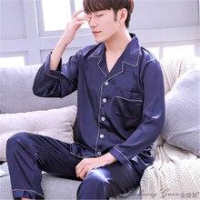 7a0a31e851 2018 Men Nightwear Long Sleeve Soft China Silk Pajamas 2 Piece Set Spring  Summer Pyjama Homme