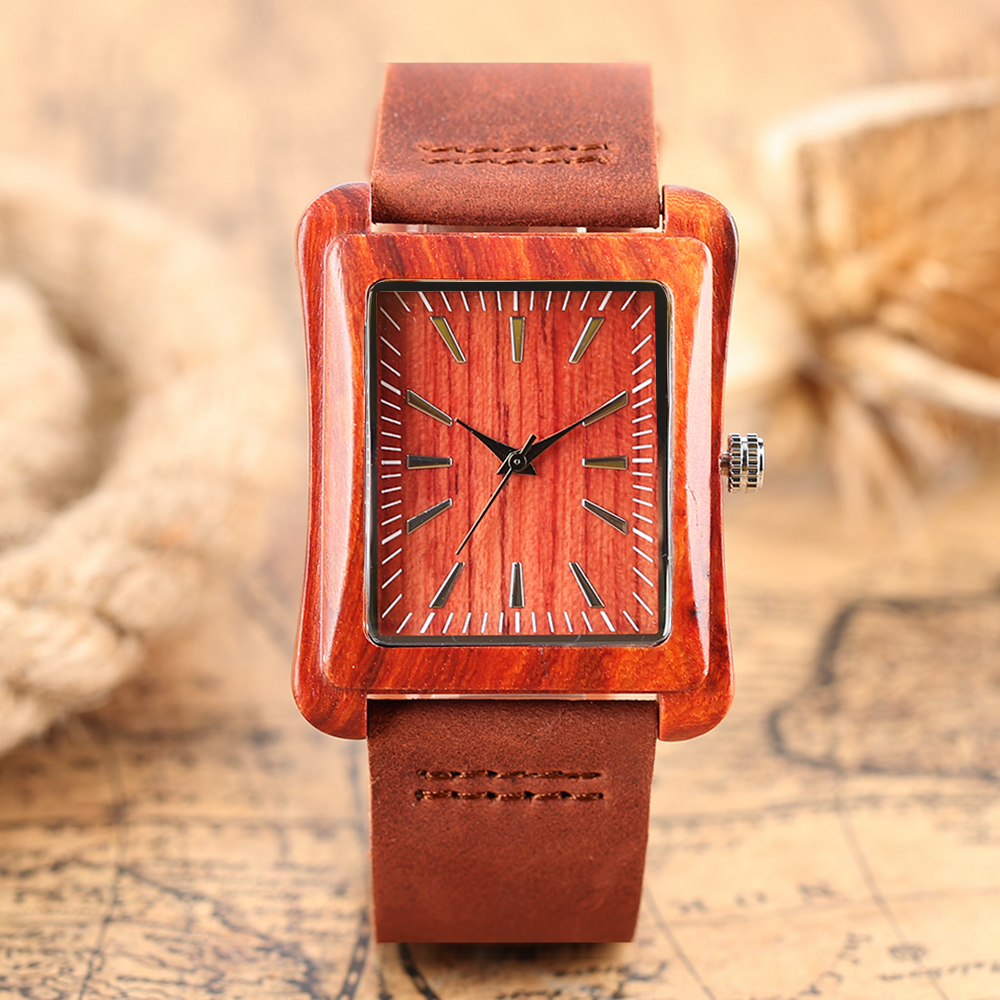 Watch Wooden Rectangle Dial Wrist Watches Novel Nature Wood Genuine Leather Band Bamboo Mens Women Quartz Wristwatch Hours Clock unique hollow dial men women natural wood watch with full wooden bamboo bangle quartz wristwatch novel handmade clock gifts item