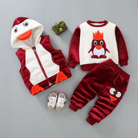Baby Boy Girl Clothes 2019 Winter Brand Infant Clothing Outfit Penguin Tops + Pants + Vest Baby Outfits Kids Bebes Jogging Suits