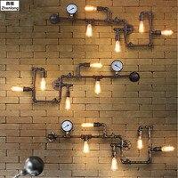 5 головок Новая мода wroguht железа водопровод бра Винтаж проходу огни Лофт Утюг бра Эдисон лампа накаливания лампы