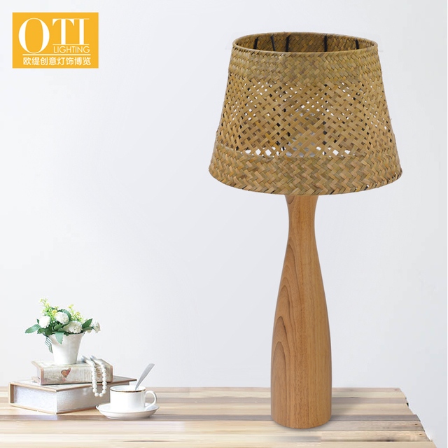 Aliexpress buy oti lighting table lamp led e27 holder wooden oti lighting table lamp led e27 holder wooden shade creative warm minimalist hand woven lampshade mozeypictures Gallery