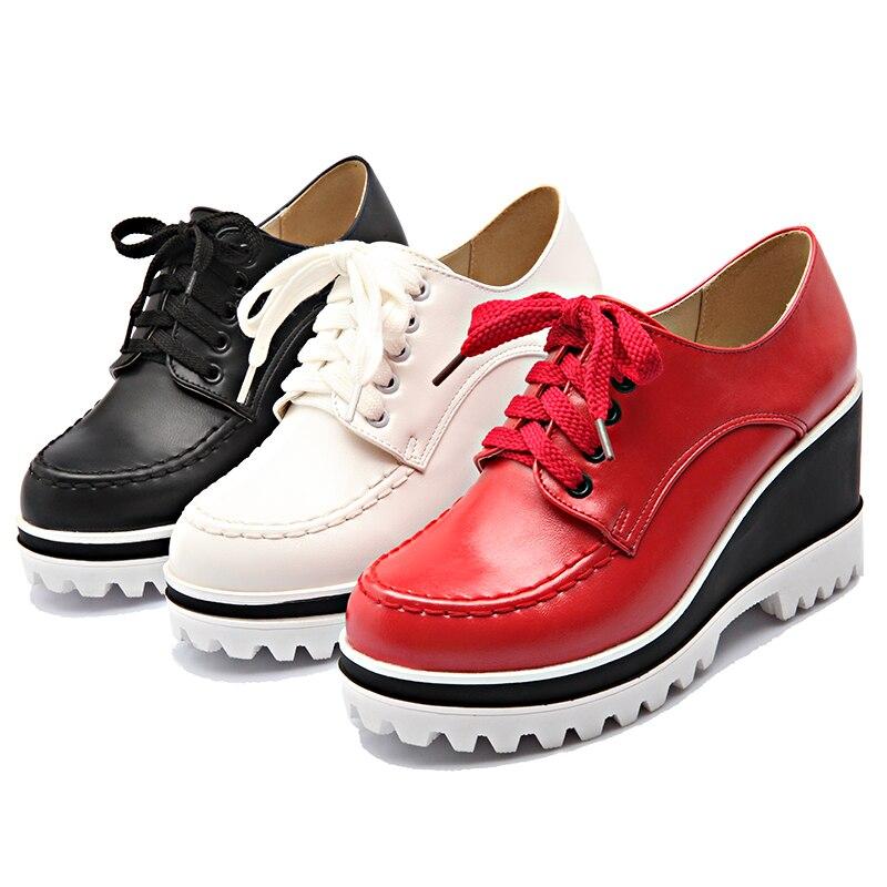S romance talla grande 34 43 mujeres bombas moda punta redonda encaje Up cuñas Med talón tobillo botas Mujer zapatos negro blanco rojo SH405-in Zapatos de tacón de mujer from zapatos    2
