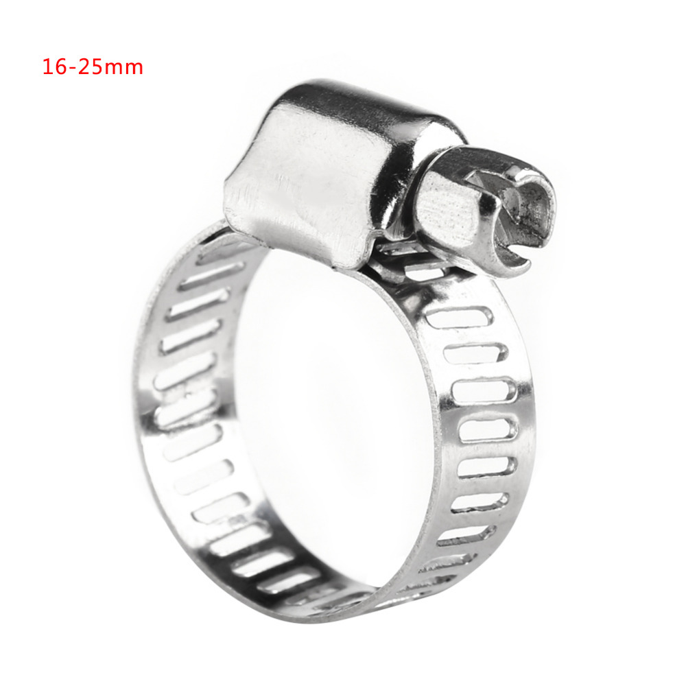 10mm to 16mm Range 8mm Band Width Stainless Steel Hose Pipe Clamp Hoop 5pcs