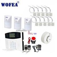 Бесплатная доставка проводной зоны ЖК GSM сигнализация комплект с проводными типами датчики для двери датчик движения Детектор Дыма