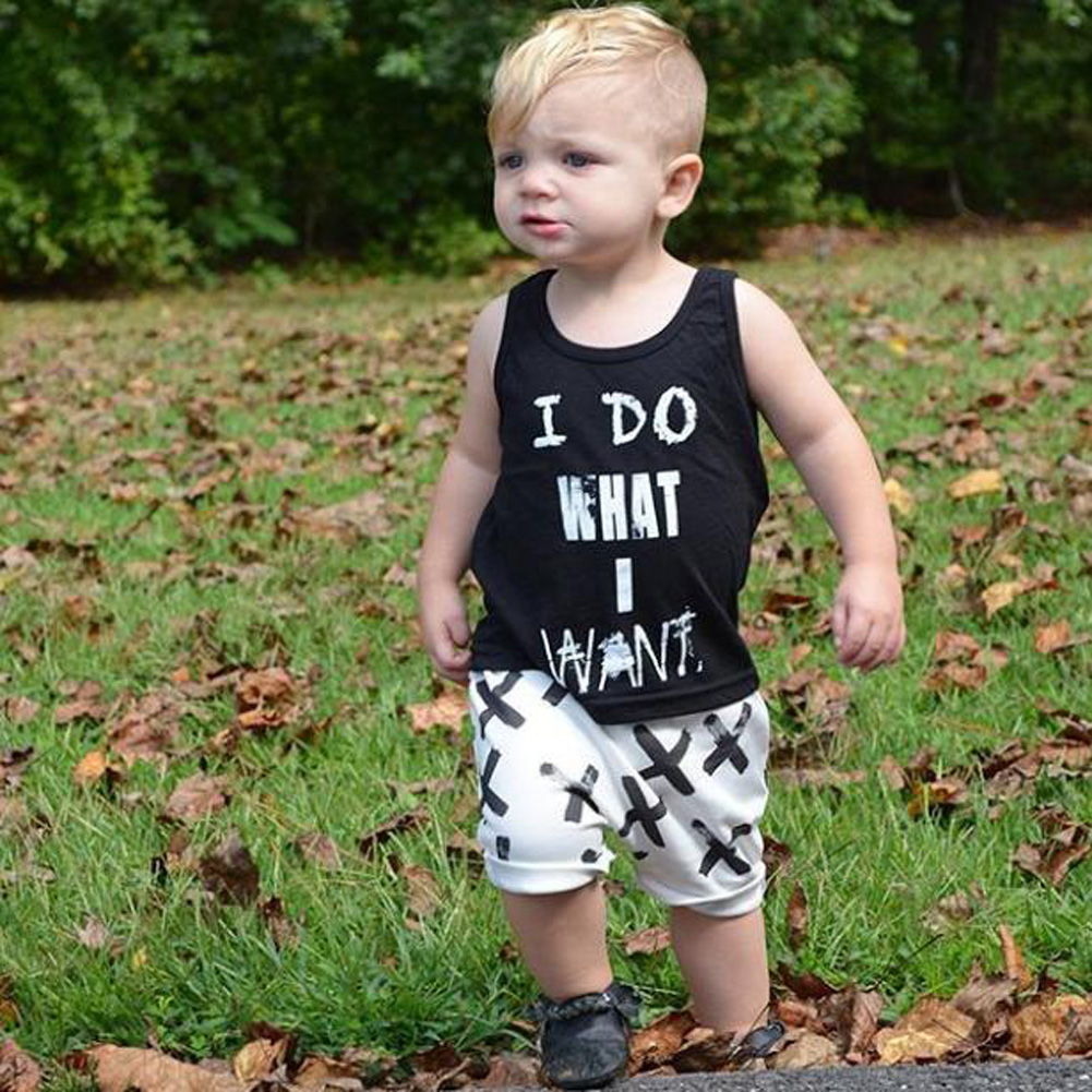 Summer Baby Boys Clothes Letter Printed Toddler Black Boys T Shirt with White Short Pant Children