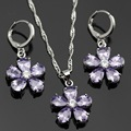 Lan 925 Silver Jewelry Sets Purple Amethyst Necklace Pendant Earring   For Wedding/Birthday/Party Free Shipping