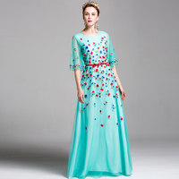 Classic Long Dresses 2017 Newest Women Half Sleeve Floral Embroidery Summer Elegant Belt Slim Maix Luxury