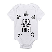 DAD YOU GOT THIS Letter 3D Printing New Hot Fashion Baby Romper Short Sleeve Babys Climb Clothes(China)