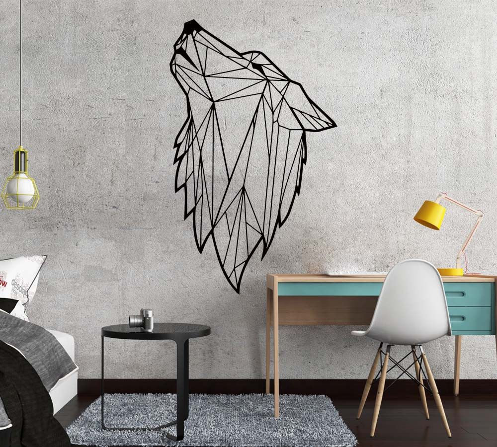Nordic Style Art Geometric Wolf Vinyl Wall Sticker For Living Room Decoration Decals Bedroom Decor Wall Decal Mural Wallpaper