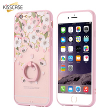 KISSCASE For iPhone 6 6S Plus Metal Finger Ring Stand Hard Back Case For iPhone 6 6S / 6 Plus 6S Plus Clear Print Flower Cover
