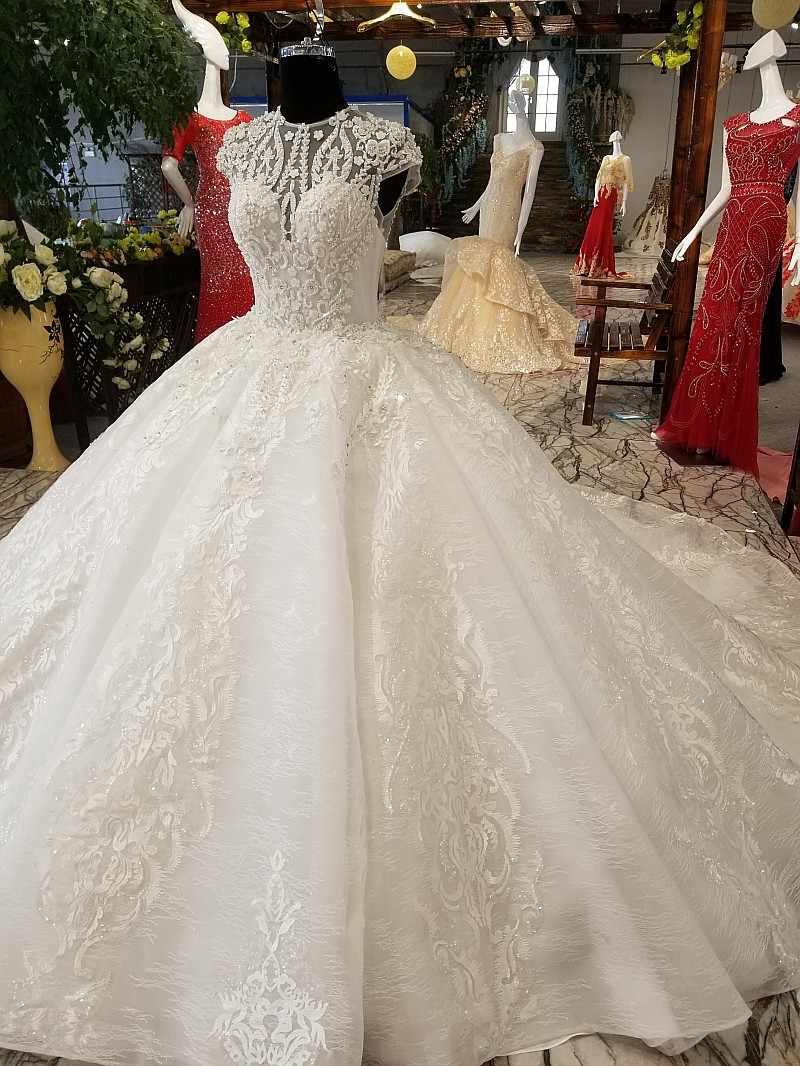 LS65309 свадебное платье кружевные цветыоптовые роскошные мантии шарика ожерелья платья выпускного вечера зашнуруйте вверх bridal мантию венчания венчания aliexpress bridal 2018 самый последний дизайн